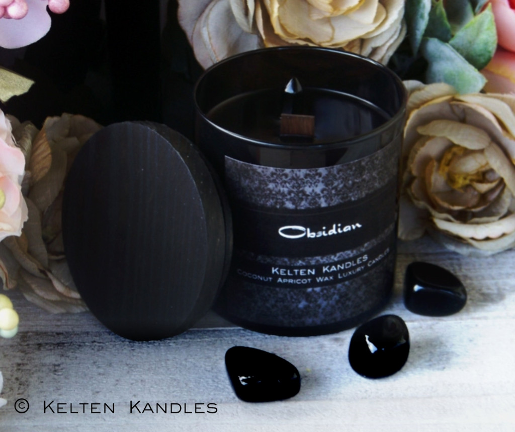 OBSIDIAN Gemstone Double Point Coco Apricot Crème Luxury Wax Black Glass Container Candle