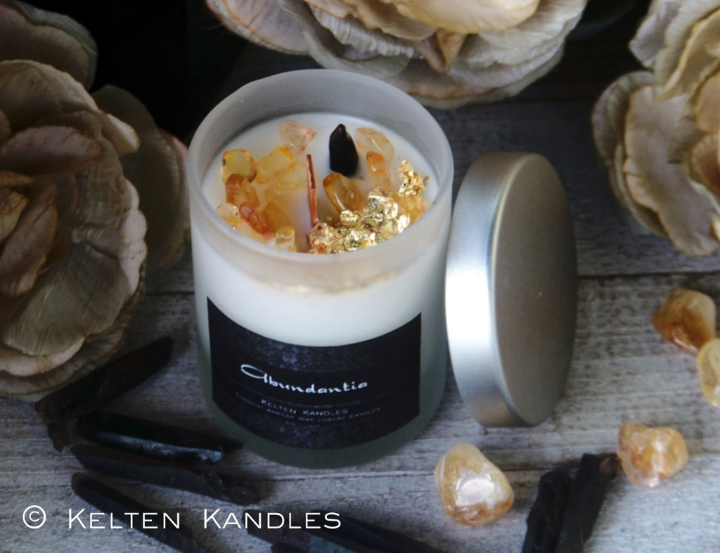 "ABUNDANTIA 24K Gold ""Crystal Visions"" Luxury Coco Apricot Crème Wax Frosted Glass Container Candle"