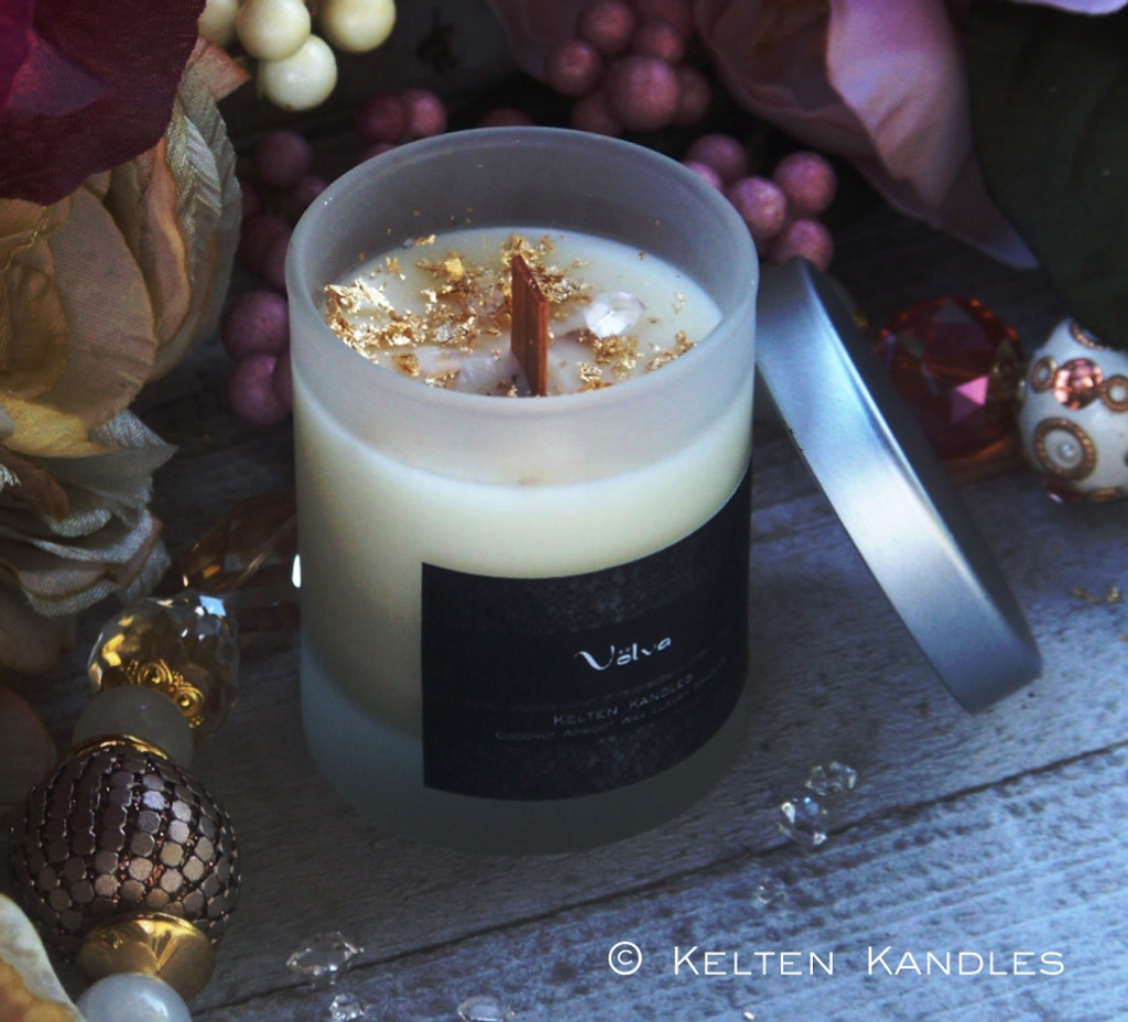 "VÖLVA 24K Gold & Herkimer Diamond ""Crystal Visions"" Luxury Coco Apricot Crème Wax Frosted Glass Container Candle"