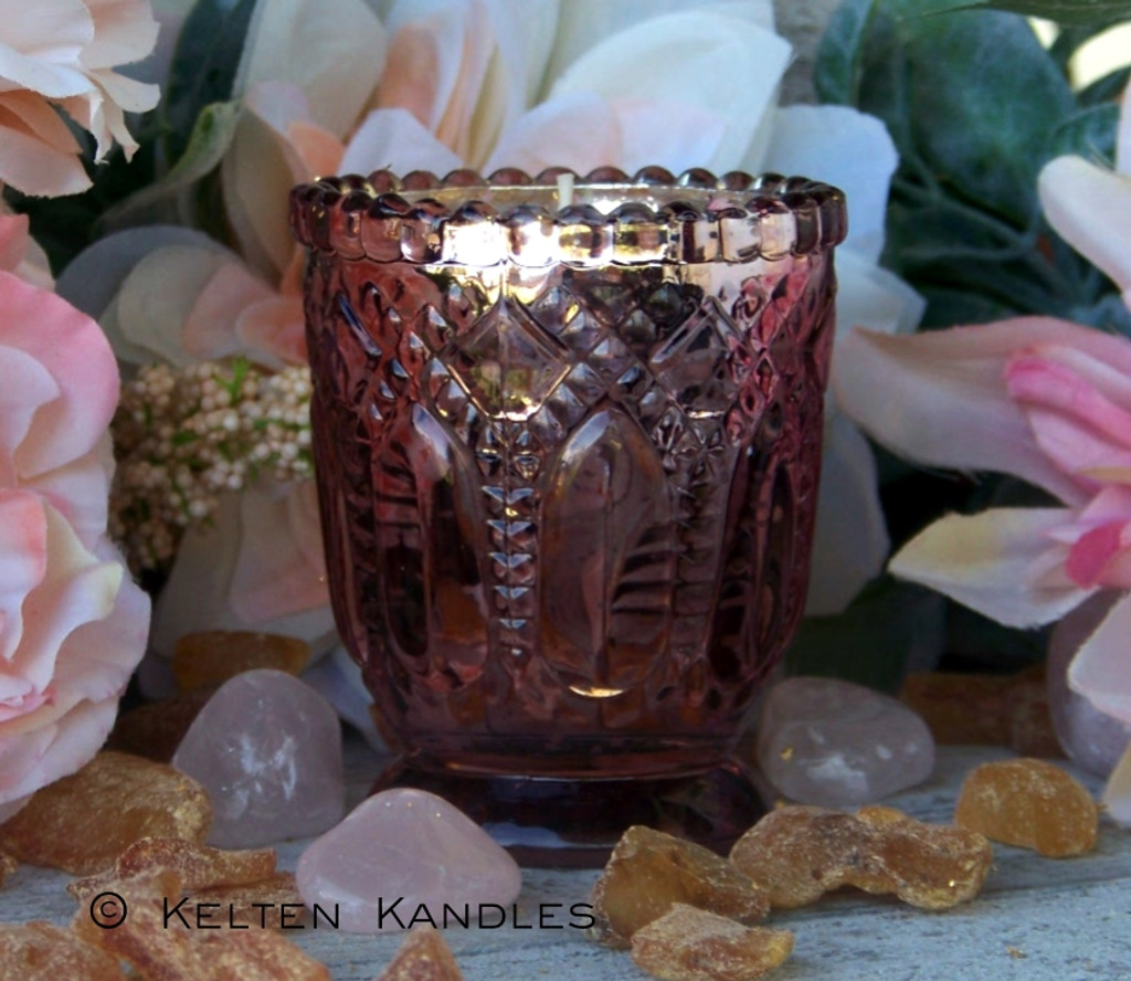 "FREYJA 24K Gold Coco Apricot Crème Luxury Wax ""Heirloom Heritage"" Mercury Glass Container Candle"