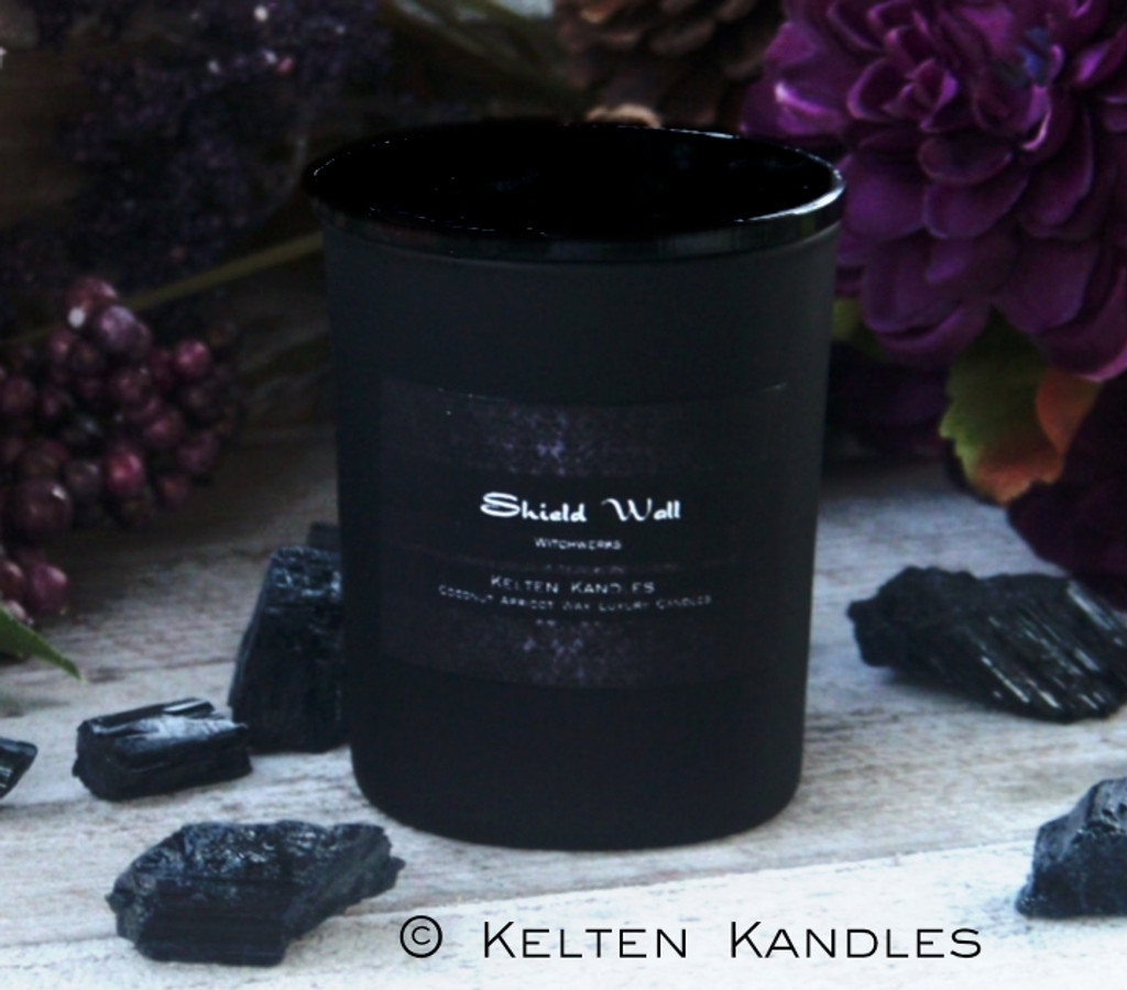 "SHIELD WALL ""Witchwerks Petite"" Coco Apricot Crème Luxury Wax Matte Black Glass Container Candle"