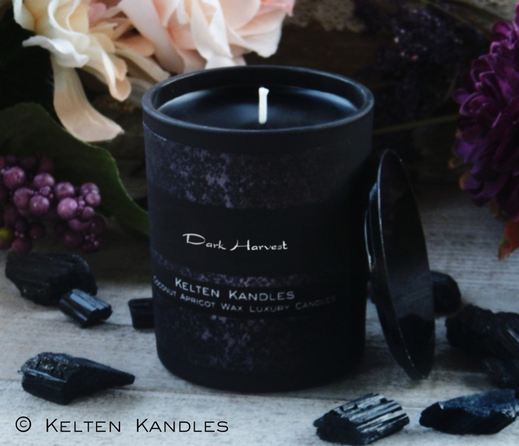 "DARK HARVEST ""Witchwerks"" Coco Apricot Crème Luxury Wax Matte Black Glass Container Candle"
