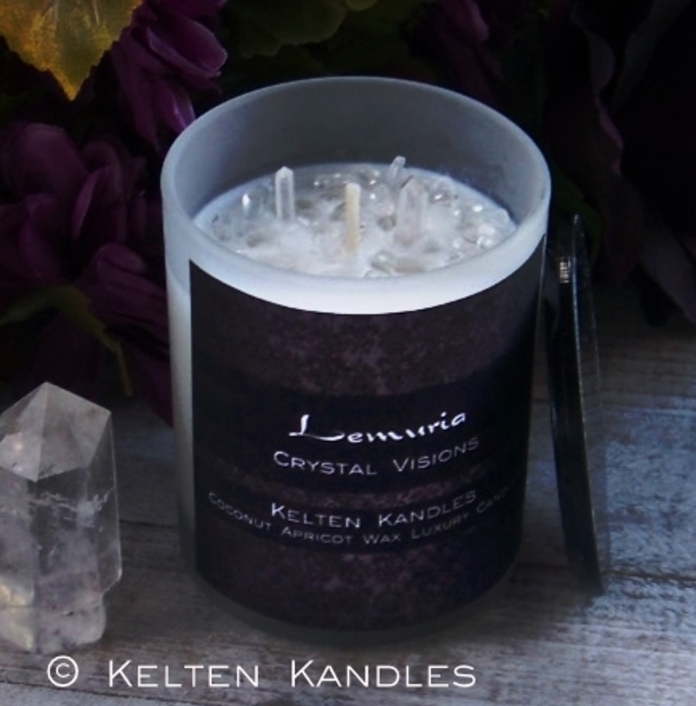 """LEMURIA """"Crystal Visions"""" Lemurian Quartz Coco Apricot Crème Luxury Wax Frosted White Glass Container Candle w/ Black Lid"""
