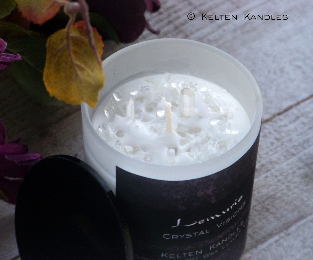 "LEMURIA ""Crystal Visions"" Lemurian Quartz Coco Apricot Crème Luxury Wax Frosted White Glass Container Candle w/ Black Lid"