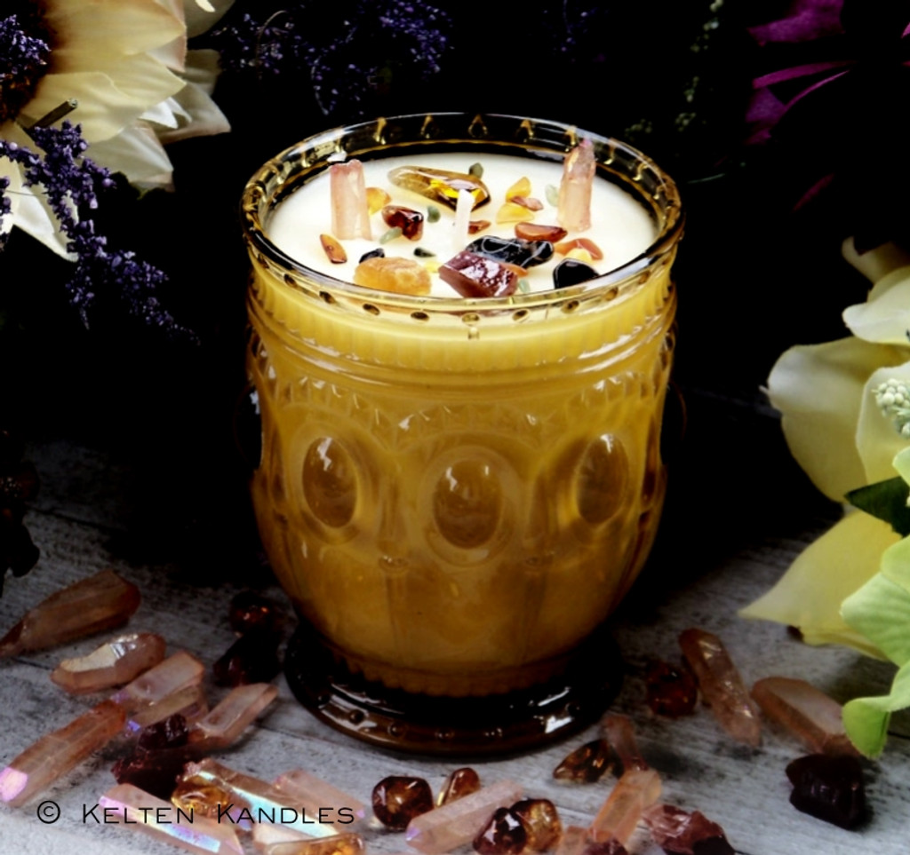 "PAST LIFE MEMORY Coco Apricot Crème Luxury Wax ""Heirloom Heritage"" Amber Gold Glass Container Candle"
