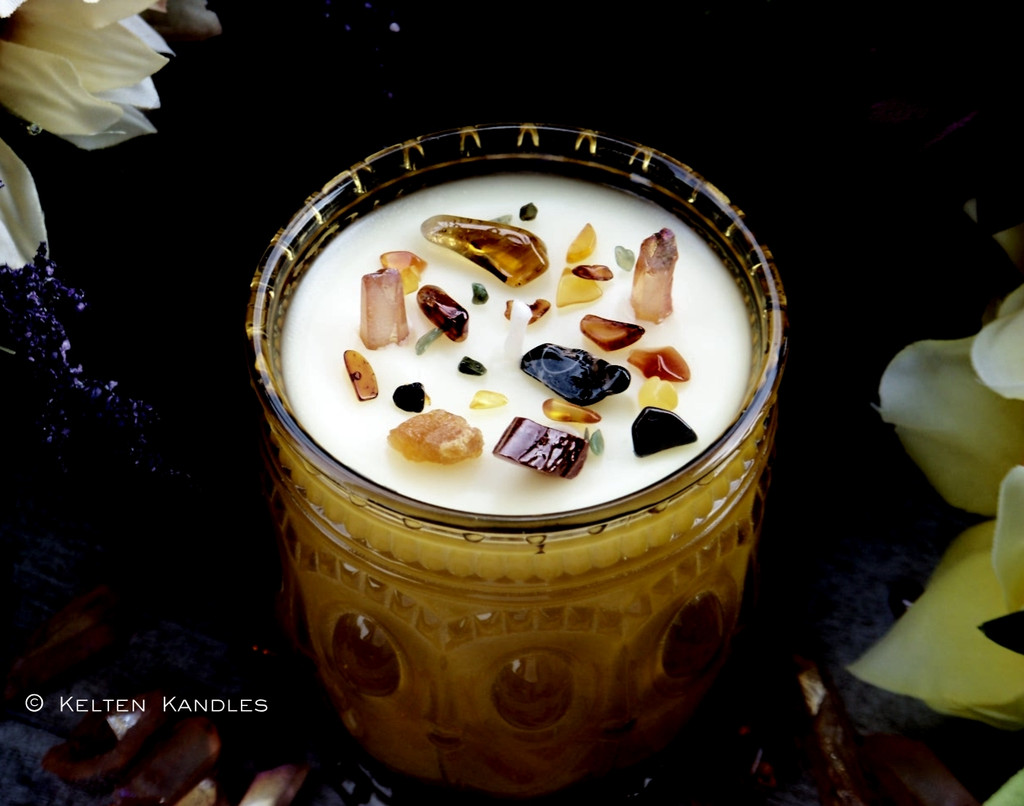 """ANCIENT MEMORY Coco Apricot Crème Luxury Wax """"Heirloom Heritage"""" Amber Gold Glass Container Candle"""