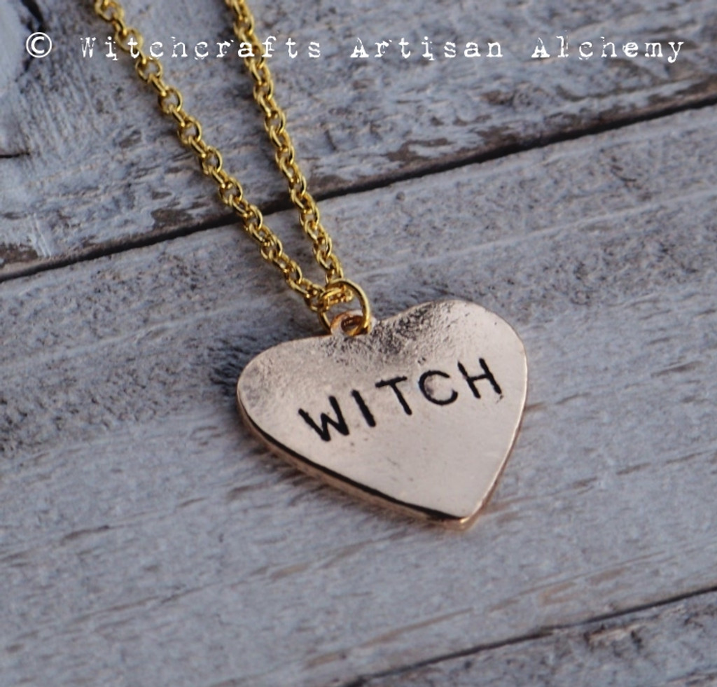 WITCH HEART Golden Charm Necklace on Gold Plated Chain