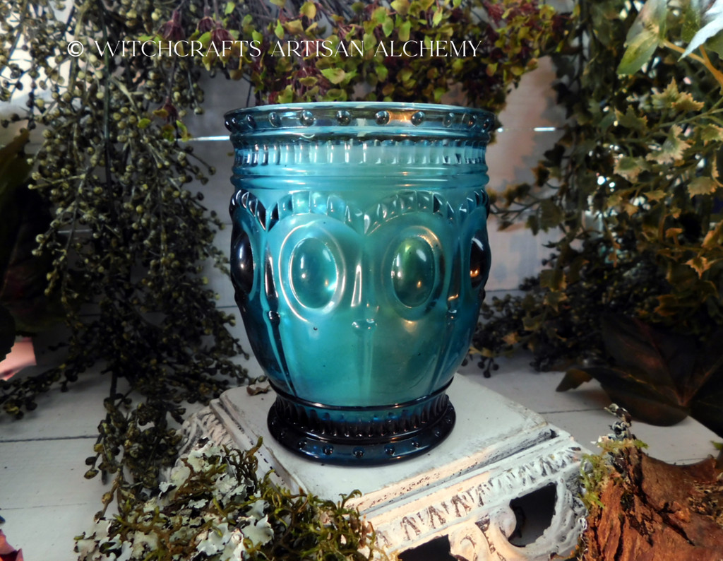 "NEHALENNIA North Sea Goddess Avalon Coco Apricot Crème Luxury Wax ""Heirloom Heritage"" Blue Glass Container Candle"