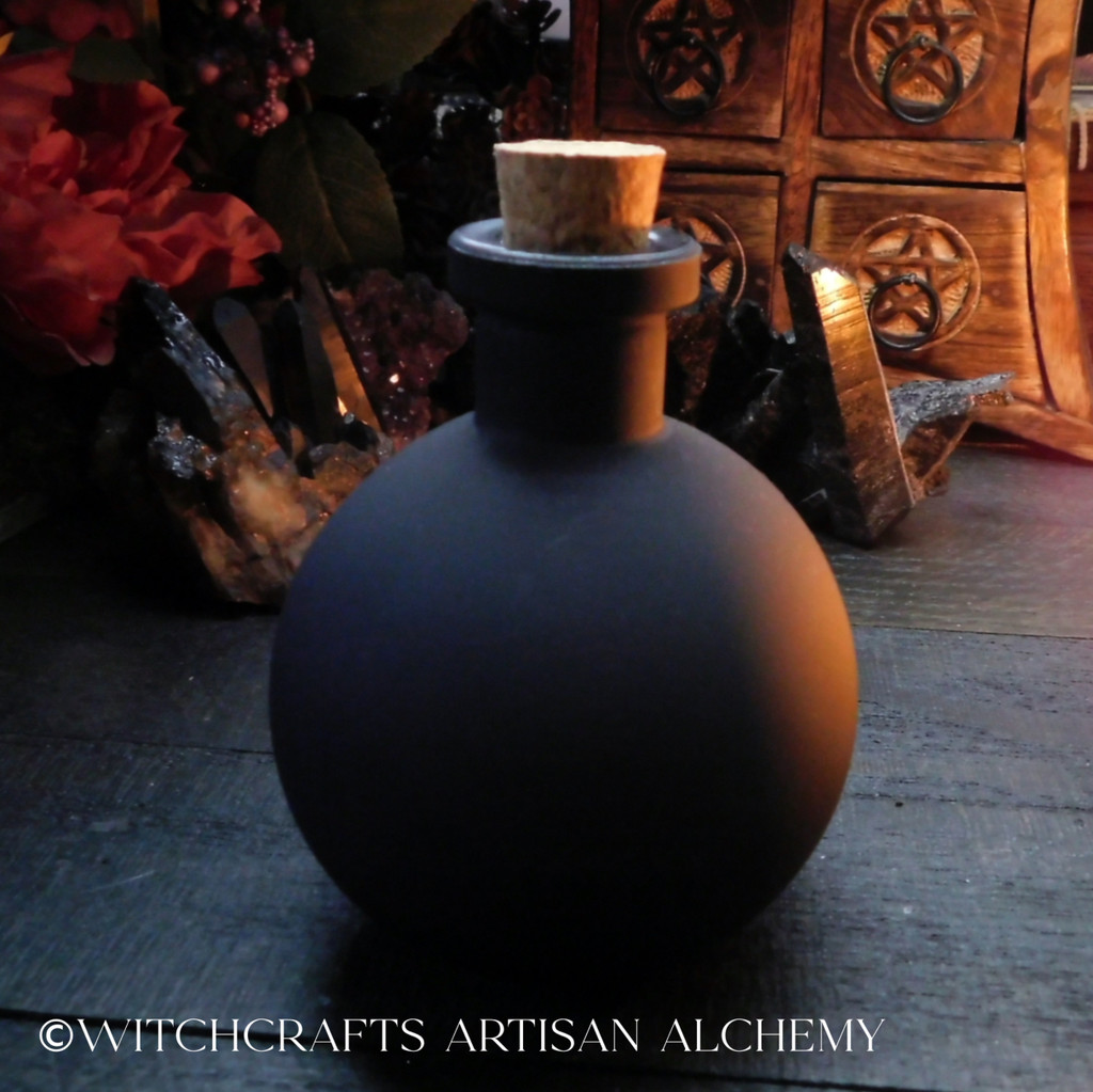 WITCH Black Matte Glass Potion Bottle with Cork