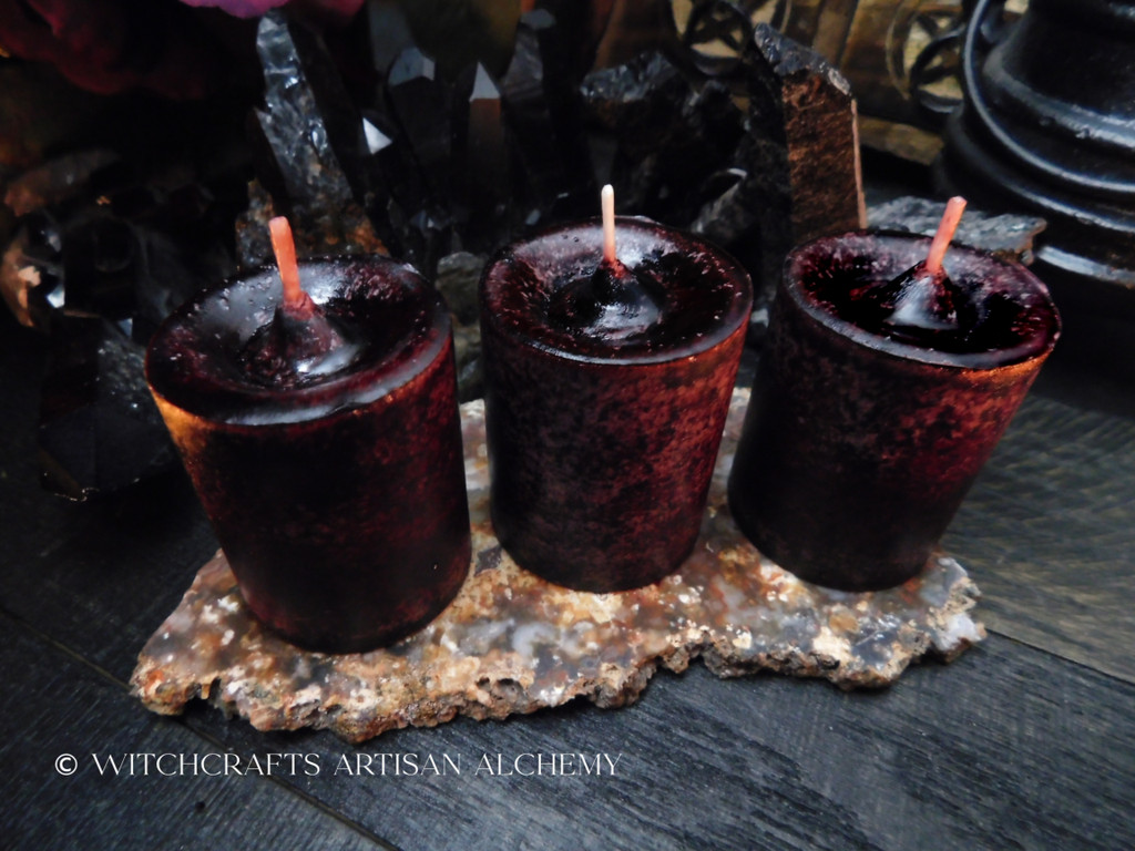 DRAGON'S BLOOD LUXE Dark Cranberry Red Pillar Votive Candles