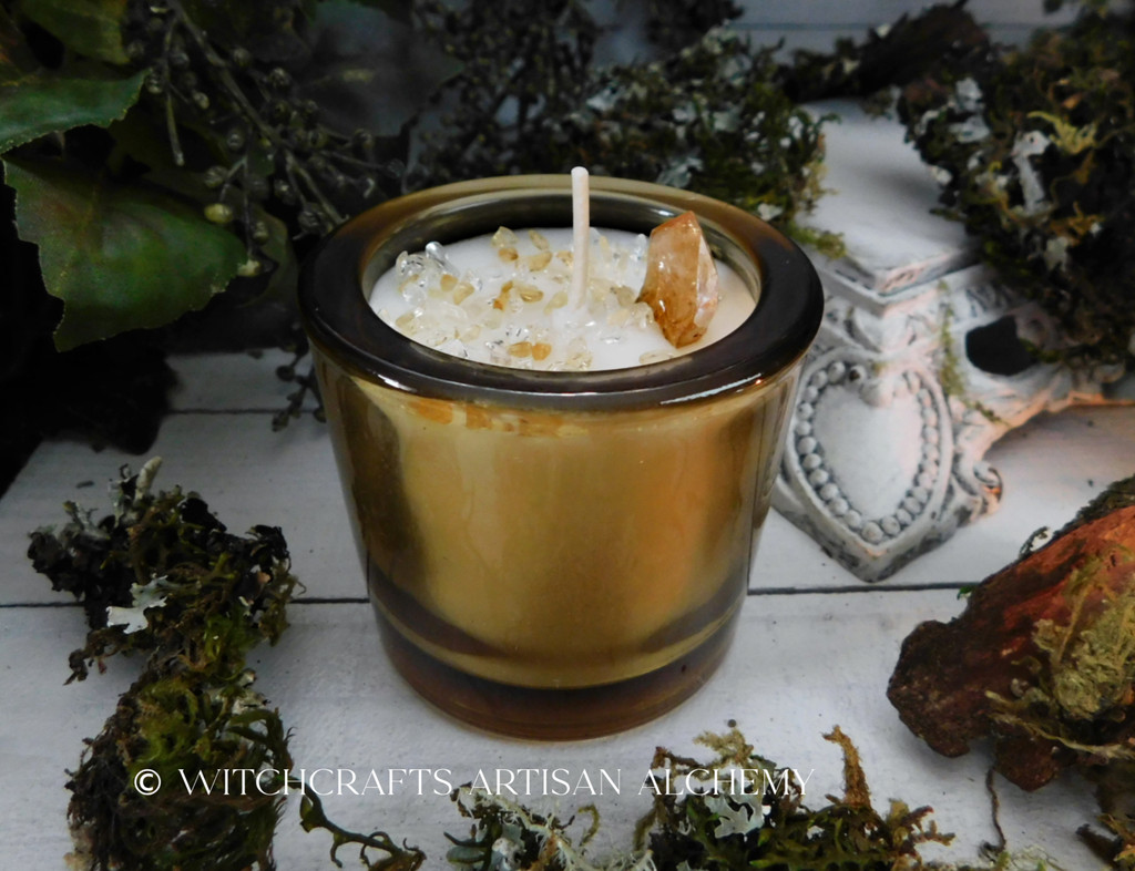 CITRINE GOLD Manifestation Coco Apricot Crème Luxury Wax Heavy Glass Container Candle