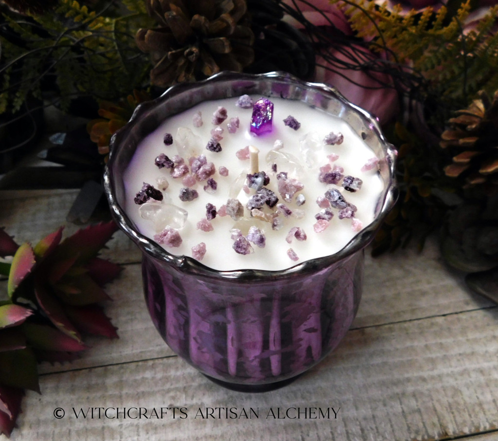 "VIOLET FLAME Coco Apricot Crème Luxury Wax ""Heirloom Heritage"" Purple Mercury Glass Container Candle"