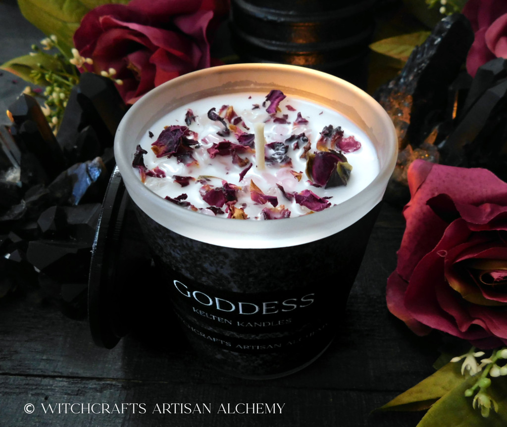 "GODDESS ""Kelten Kandles"" Coco Apricot Crème Luxury Wax Matte White Glass Container Candle w/ Black Lid"
