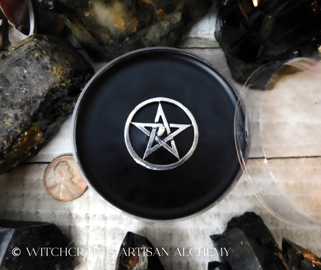 BLACK CAULDRON BREW Pentacle Coco Apricot Crème Wax Artisan Jumbo Tealight Candle w/ Protective Cover