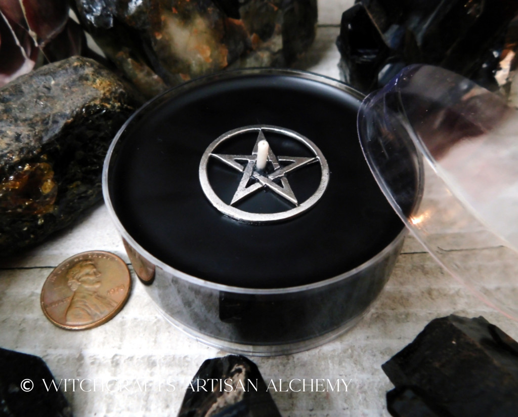 BLACK CAULDRON BREW Pentacle Coco Crème Paraffin Wax Artisan Jumbo Tealight Candle w/ Protective Cover