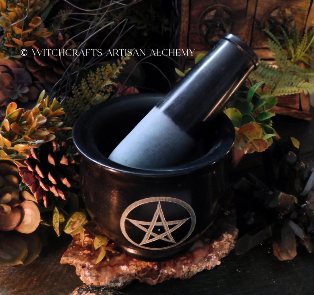WITCH'S TRIPLE PENTACLE Extra Large Black Stone Mortar & Pestle
