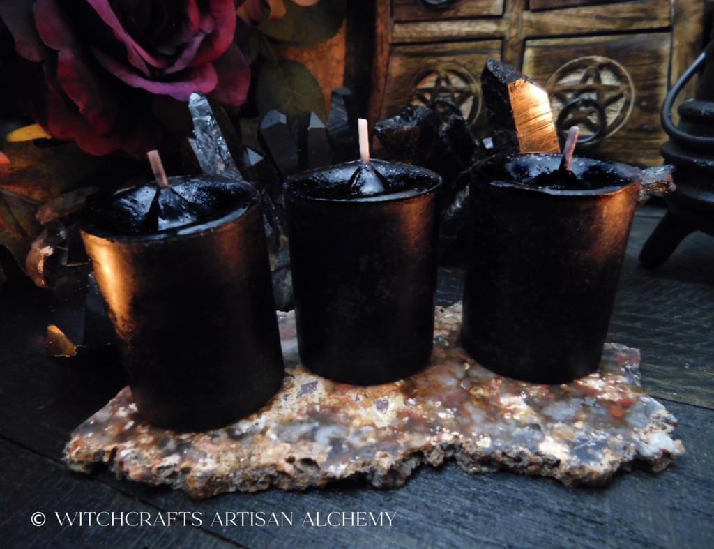 BANISH & PROTECT Black Pillar Votive Candles