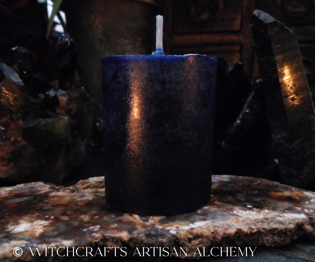 Highly Scented Deep Blue Black Pillar Votive Candle - Your Choice of Scent Blend