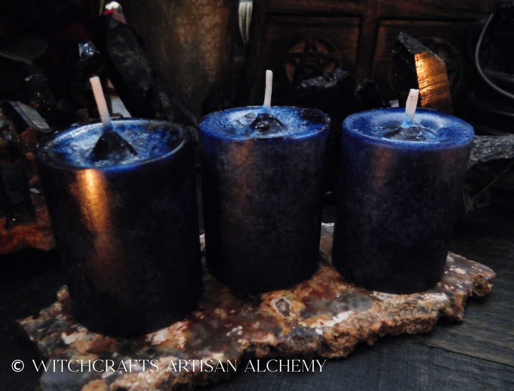 GATES TO ANNWN Celtic Witches' Portal to the Otherworld Deep Blue Black Pillar Votive Candles