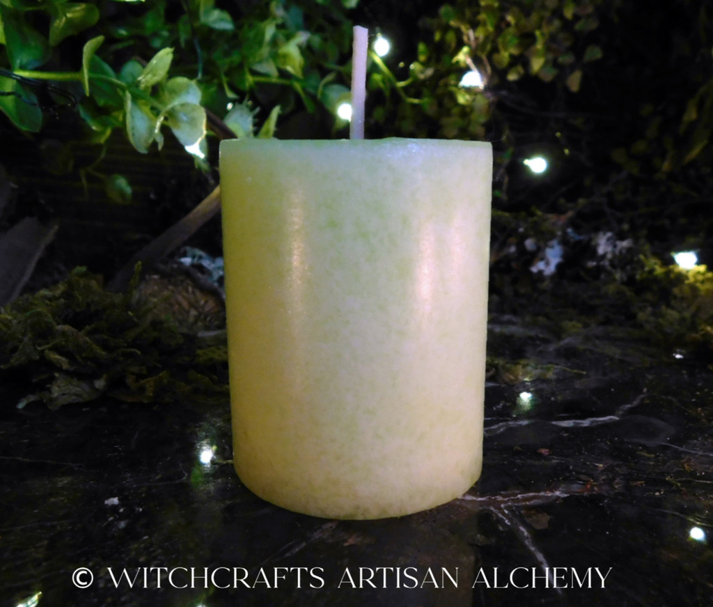 "SAGE & SWEETGRASS ""Good Spirits"" Highly Scented Soft Light Green Pillar Votive Candle"