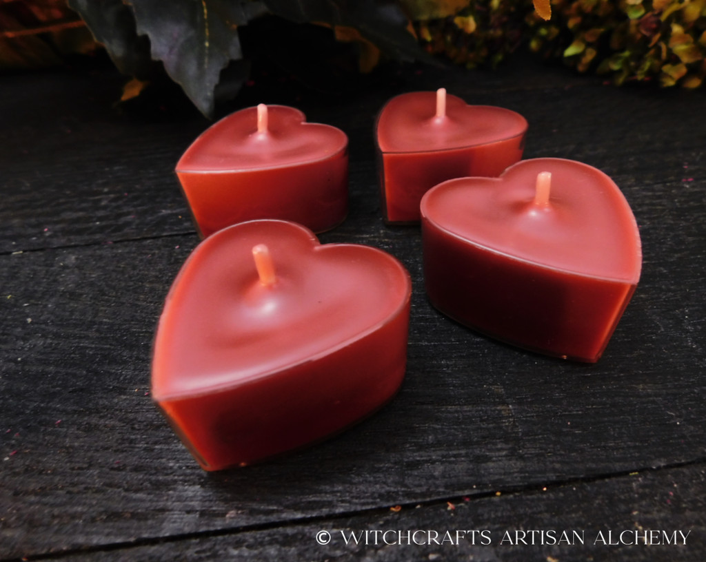 HEART'S DESIRE Rose Red Coco Apricot Crème Luxury Wax Heart Shaped Artisan Tealight Candles