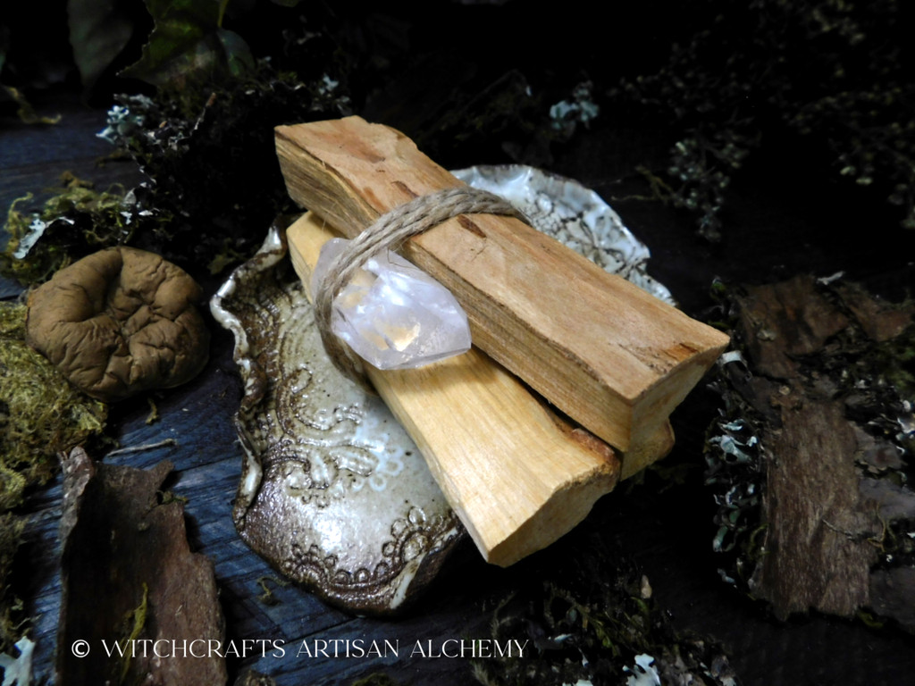 HOLY POWER Palo Santo Essential Oil Infused Palo Santo Smudge Bundle with Quartz Crystal Point