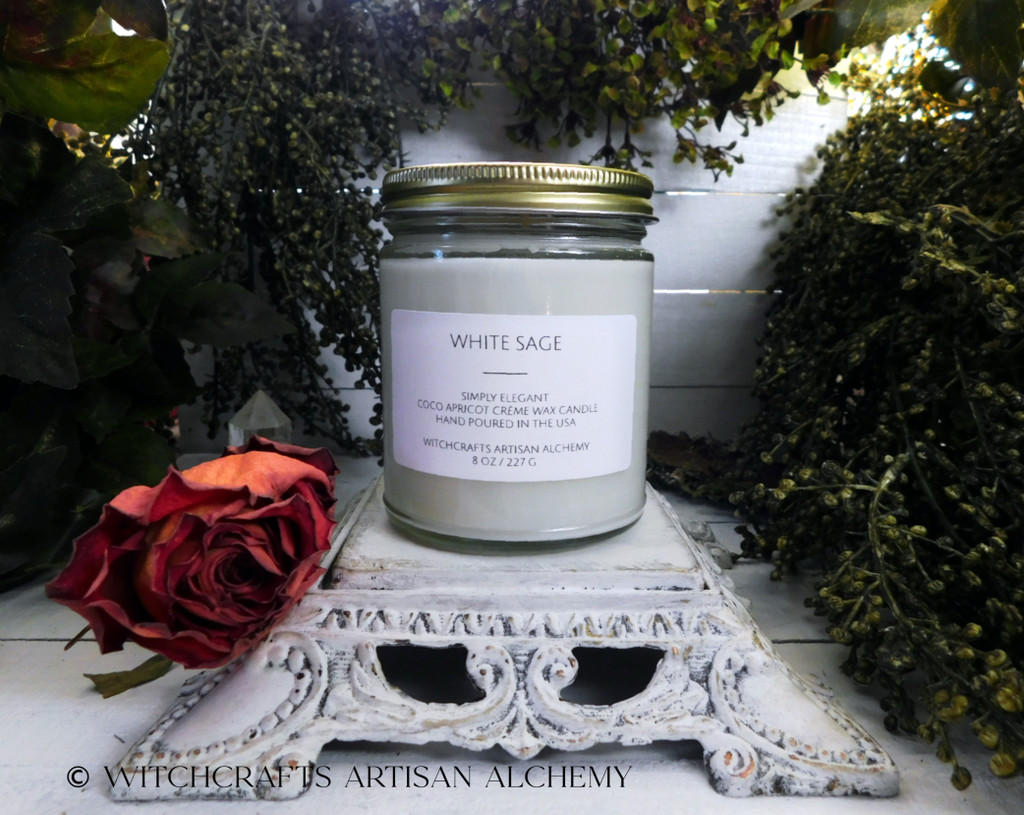 """WHITE SAGE (Salvia apiana) """"Simply Elegant"""" Coco Apricot Crème Luxury Wax Straight Side Glass Jar Candle with Brushed Gold Tone Metal Lid"""