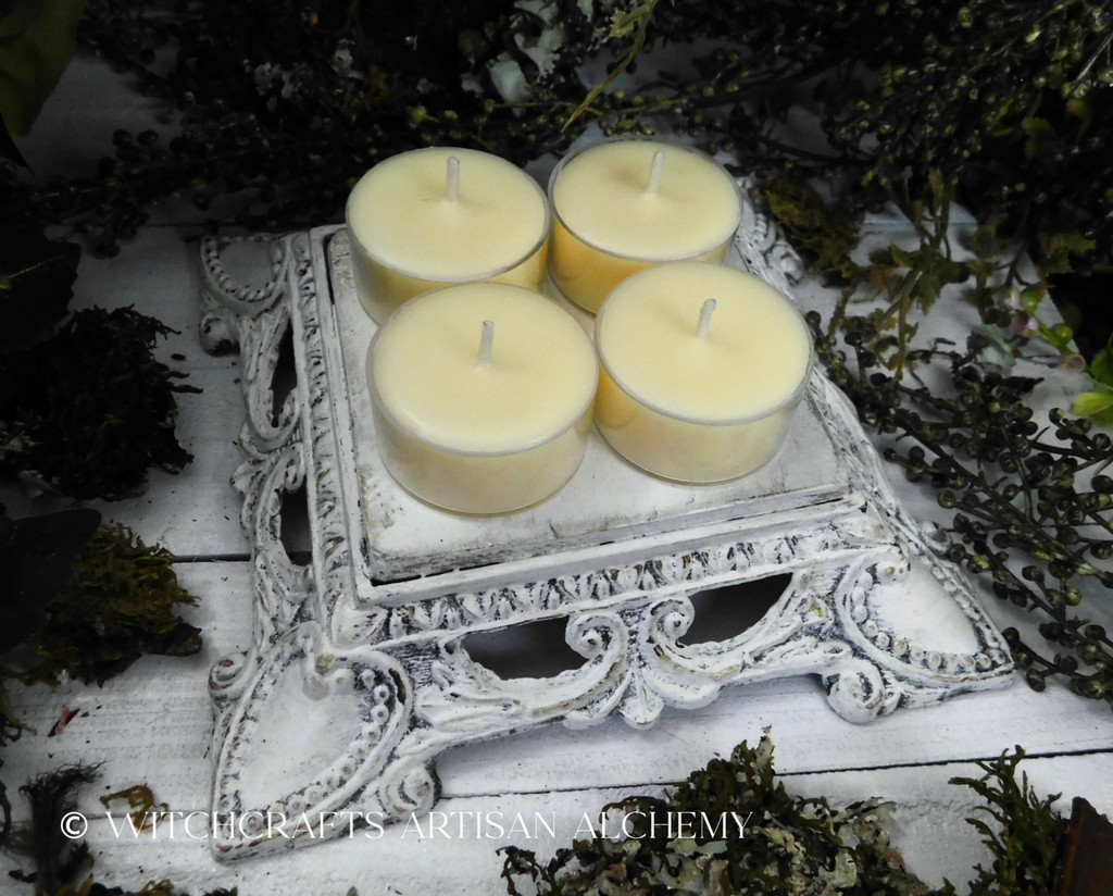 "WILDFLOWER HONEY ""Simply Elegant"" Beeswax Coco Crème Wax Artisan Tealight Candles"