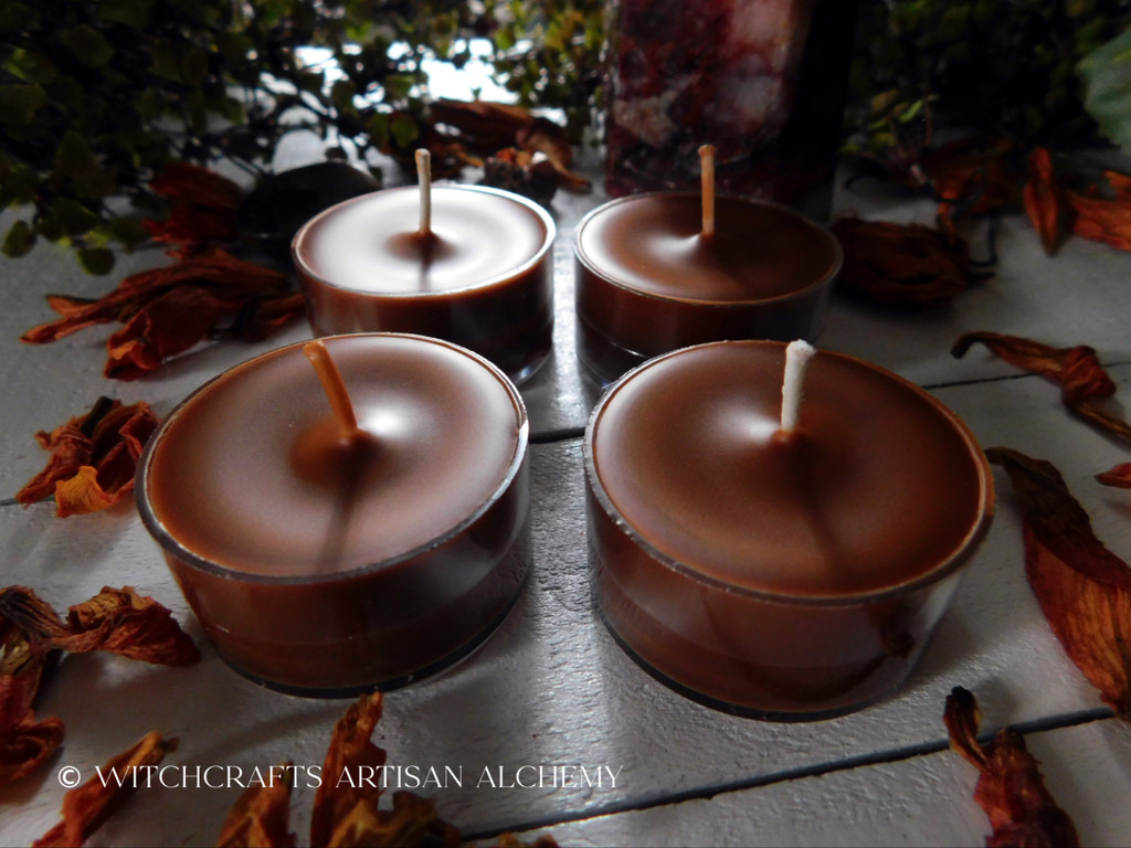 "SACRED FIRE Beltane Sabbat ""Simply Elegant"" Rusty Red Orange Brown Soy Paraffin Wax Blend Artisan Tealight Candles"