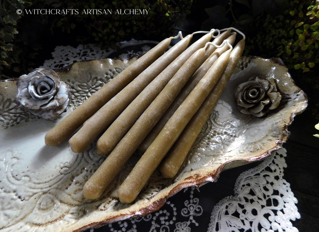 True Bayberry Beeswax Taper Candles, Hand Dipped Joined Pair