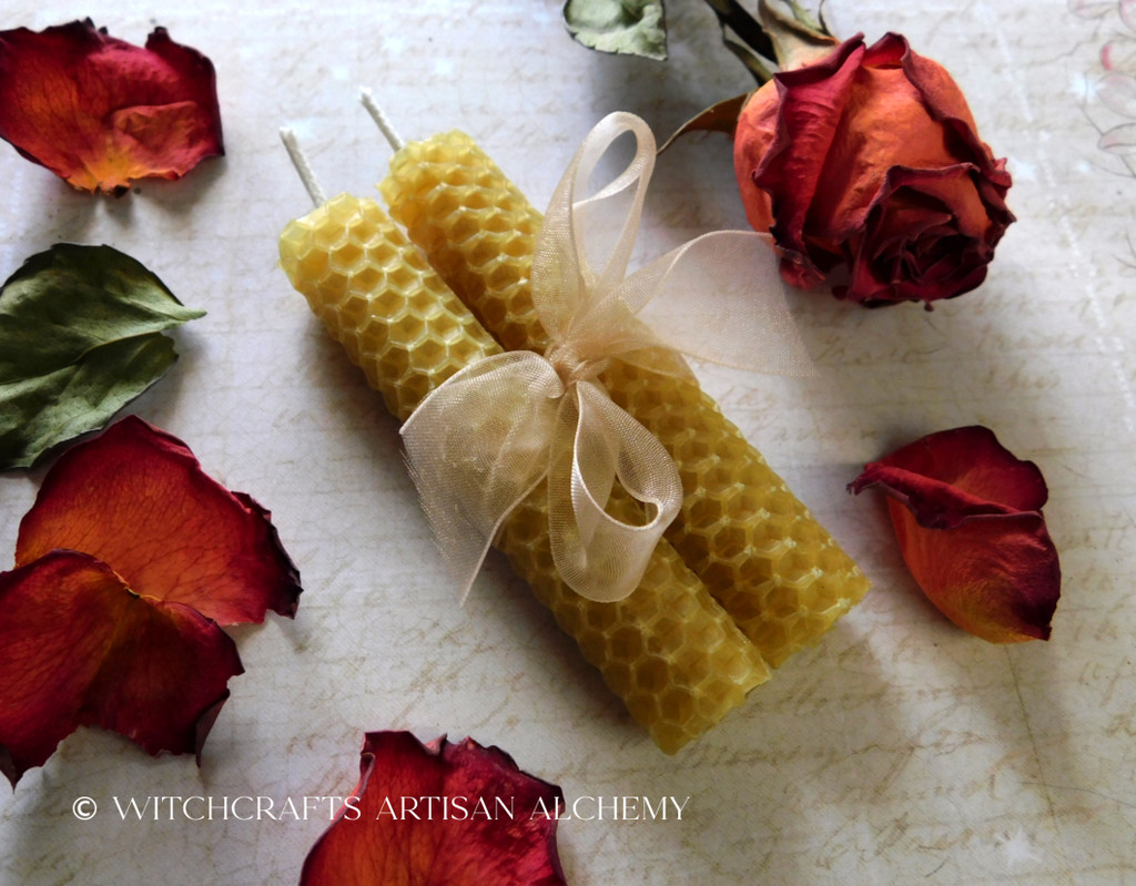 Natural Beeswax Hand Rolled Honeycomb Taper Spell Candles, One Pair