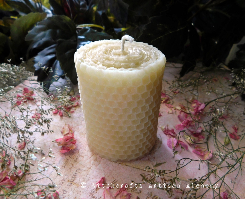 ELEGANT BEAUTY Organic Soft Ivory Beeswax Hand Poured Pillar Candle with Hand Rolled Look