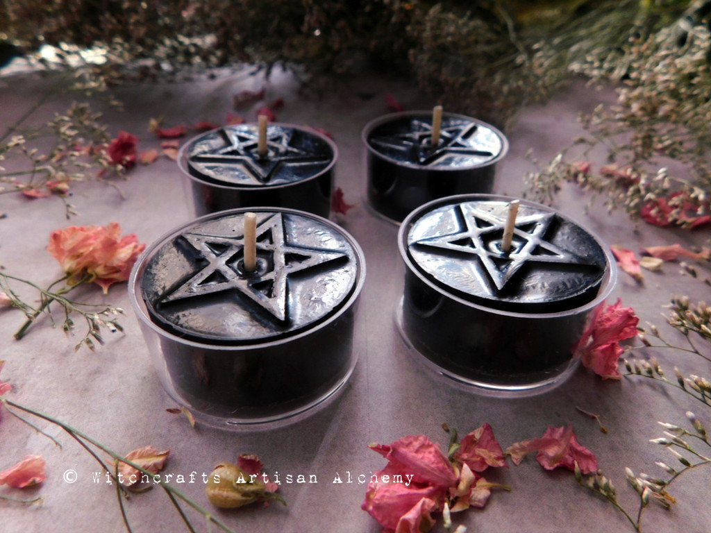 BLACK CAULDRON BREW Signature Scent Black Beeswax Pentagram Artisan Tealight Candles