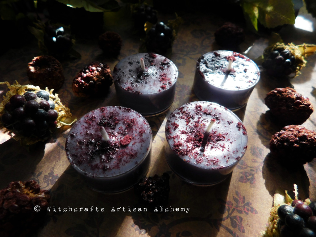 WITCH'S BLACKBERRY BREW Coco Apricot Crème Soy Wax Blend Purple Artisan Tealight Candles