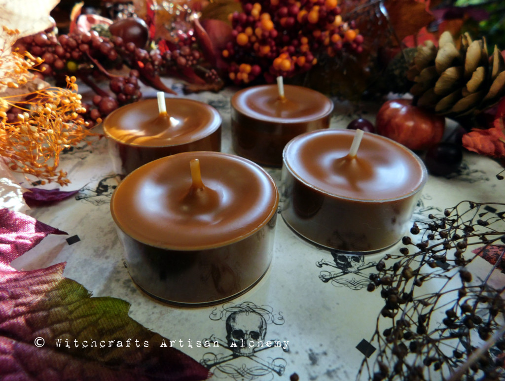 DARK HARVEST PUMPKIN Samhain Sabbat Soy Paraffin Wax Blend Burnt Orange Brown Artisan Tealight Candles