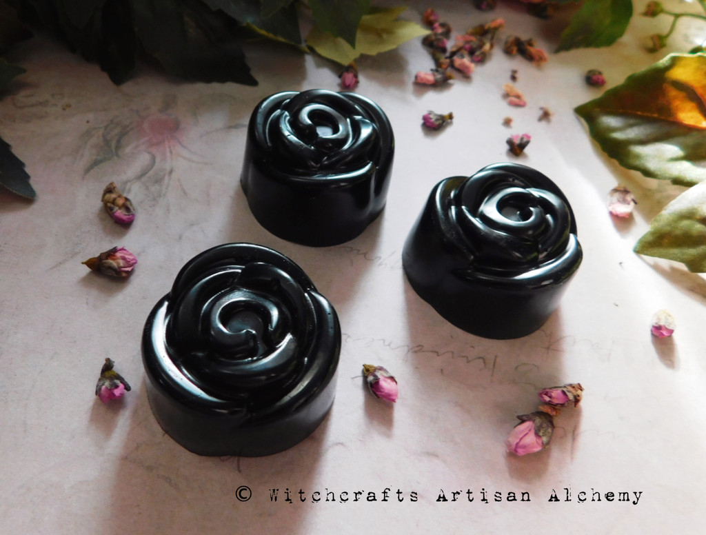 BLACK ROSES Highly Scented Flower Shaped Black Wax Tarts, Set of 3