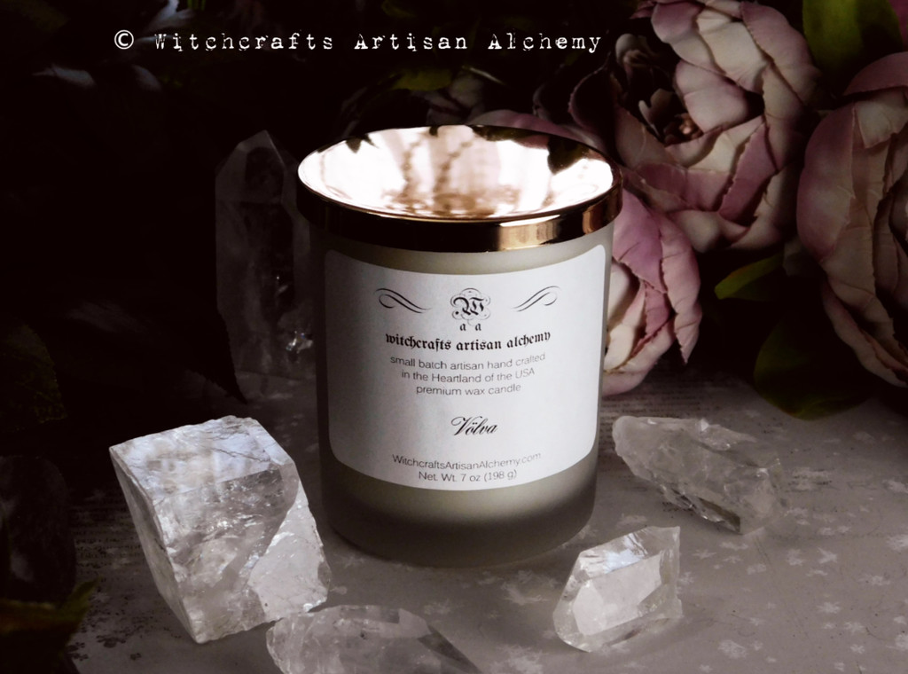 VÖLVA Nordic Witch Seeress Matte White Glass Container Candle w/ Golden Lid