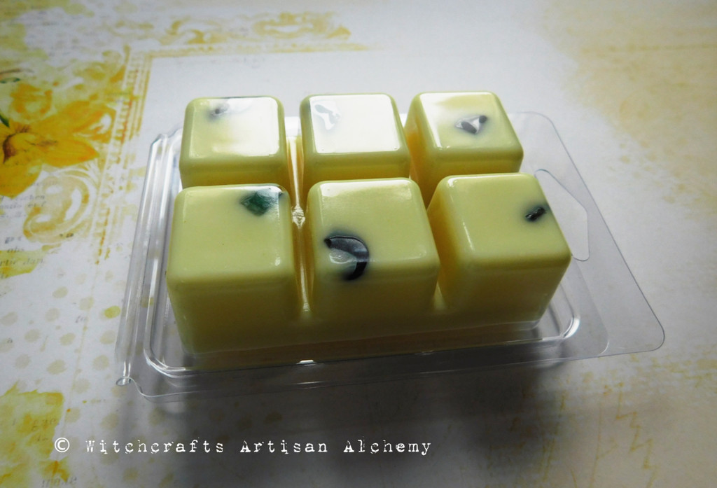 GENIUS Academic Success Highly Scented Yellow Artisan Soy Paraffin Wax Blend Clamshell Melts w/ Emerald Gemstones