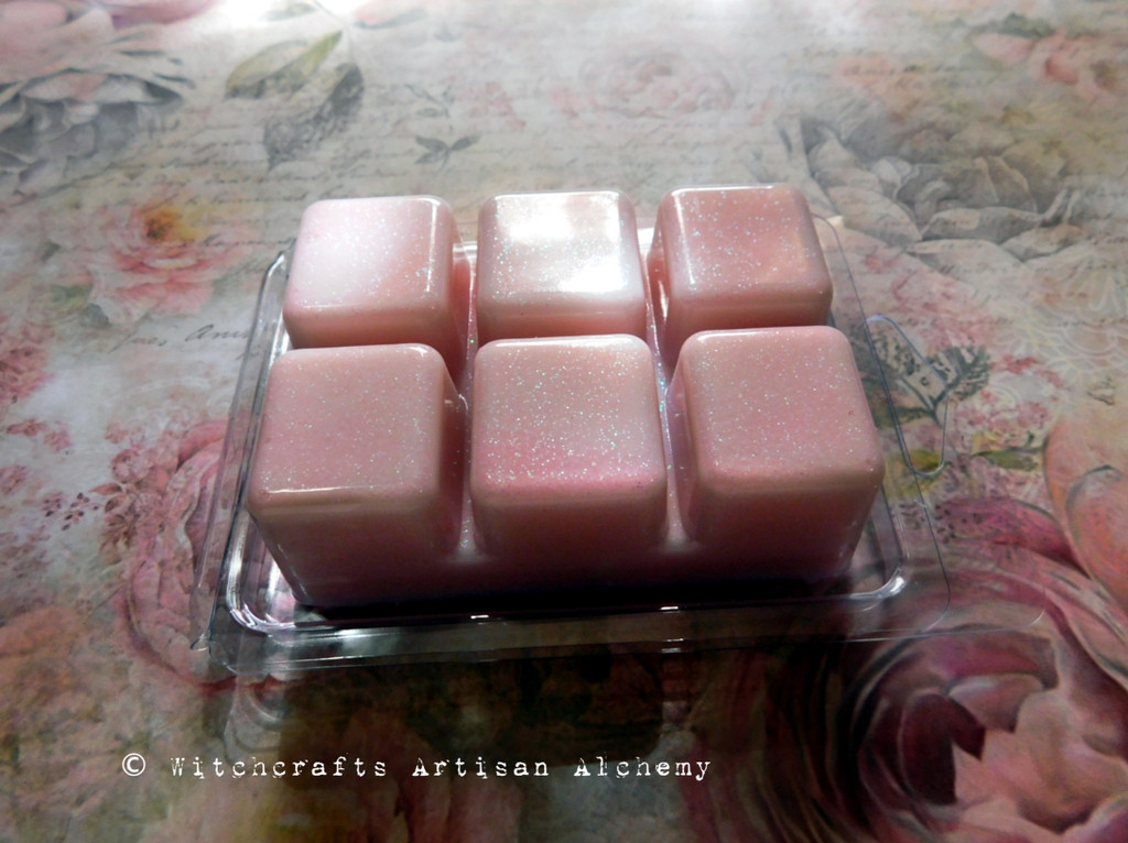 WITCH'S CHARM Pink Iridescent Fairy Dusted Highly Scented Artisan Soy Paraffin Wax Blend Clamshell Melts