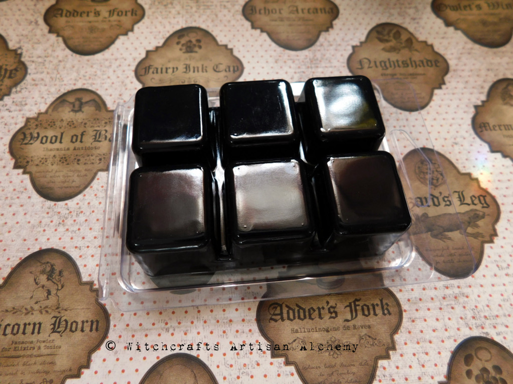 """EYE OF NEWT """"Witchcraft"""" Black Highly Scented Artisan Soy Paraffin Wax Blend Clamshell Melts"""