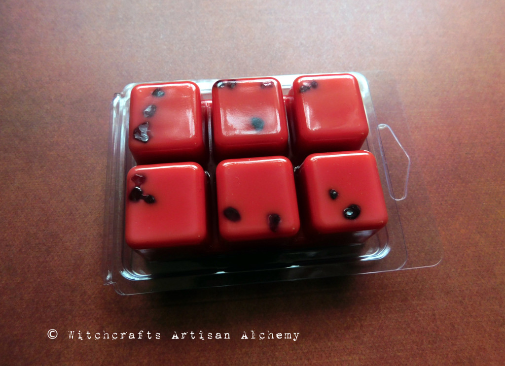 BRIGID'S FIRE Highly Scented Red Artisan Soy Paraffin Wax Blend Clamshell Melts with Garnet Crystals
