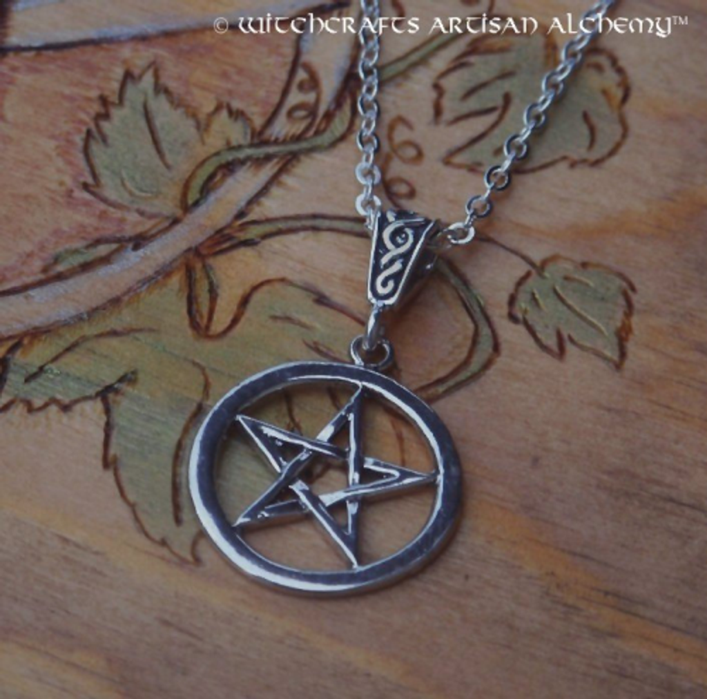 Solid STERLING SILVER PENTACLE Pendent Necklace