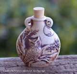 OWL SPIRIT Fired Clay Pendant Potion Bottle