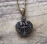 MORRIGAN PENTAGRAM Antiqued Brass Amulet Pendant Necklace