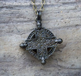 VIKING SUNWHEEL RUNIC CROSS Antiqued Brass Double Faced Amulet Pendant Necklace