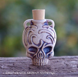 CALAVERA SKULL Fired Clay Pendant Potion Bottle