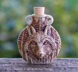 WOLF SPIRIT Fired Clay Pendant Potion Bottle