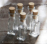 Collectible Rare Squared Bottom Glass Corked Mini Vials 3ml, Set of 5