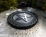 Black Stone Celtic Knot Pentacle Altar Tile and Incense Cone Burner