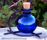 Royal Blue Round Glass Corked Potion Bottle w/ Stand